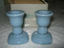 """Partylite #P0228 7/8"""" French Blue Ceramic Taper Candle Holders"""