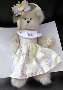 Bearington Plush Bear dress with flowers hat with flower- yellow purple white