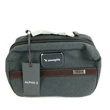 Tumi Alpha 3 Split Travel Kit Younglife Gray Brown Canvas Case Brand New