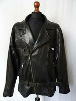 Men's Vintage TRAPPER Black Leather Luftwaffe Motorcycle Biker Jacket L 44R