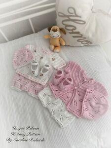 """Mayflower"" Mix 'n' Match Knitting Pattern / Reborn doll 16 -22"" or 0-3 Mth Baby"
