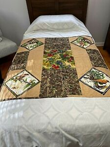 Quilt Lap Robe Bed Comforter Throw 40x39 Hand Made Qulted & Machine Stitch Birds