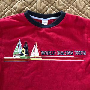 Gymboree 10 Sailing Club Boys Red World Racing Tee Vintage 2007