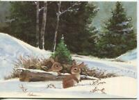 VINTAGE CHRISTMAS SNOW WINTER BUNNY RABBITS EVERGREEN TREES NATURE GREETING CARD