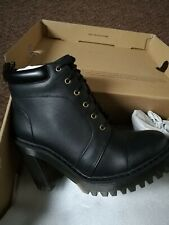 Genuine Dr Martens Averil Black Leather Heeled Boot Size UK 6 EU 39 US 8 RRP£140
