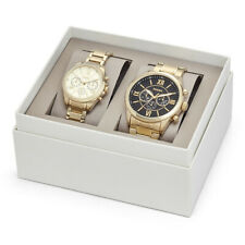 Brand new authentic HIS AND HER CHRONOGRAPH GOLD-TONE STAINLESS STEEL WATCH set