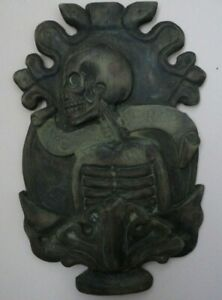Georgian Antique Hand Wood Carving Memento Mori Skull Signed dated 1833 year