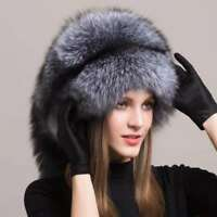 Womens Genuine Silver Fox Fur Mongolia Cap Ladies Winter Warm Fur Hat With Tail