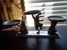 Pottery Barn YORKSHIRE BUNNY MULTI-PILLAR CENTERPIECE-CANDLE HOLDER-NEW
