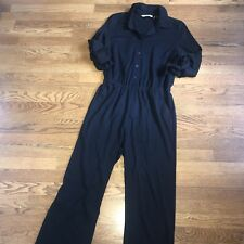Soft surroundings Black Jumpsuit Stretch Jersey 3/4 Sleeve Size Ladies Small