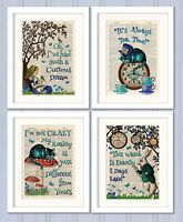 Set of 4 Alice in Wonderland Antique Book page Art Prints A4-Nursery Set1 Turq