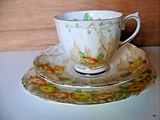 ROYAL ALBERT YELLOW ORANGE FLOWER FLORAL TRIO CUP SAUCER PLATE BONE CHINA