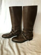 MANOLO BLAHNIK BROWN LEATHER RIDING BOOTS IN SIZE 40 1/2