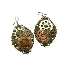 Steampunk Earrings, Gear Layered, Dangle Earrings, Hook Earring, Fashion Jewelry