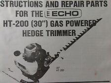 Echo Kioritz Lawn Garden Gas Ht 200 30 Brush Hedge Trimmer Owner Amp Parts Manual