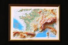 France Map 3D Raised Relief Framed Map Amazing Decorative Bird's-Eye View