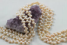 "15.5"" Cultured Fresh Water Pearl Beads Tear Drop 6x7mm PEACH *FREE SHIPPING"