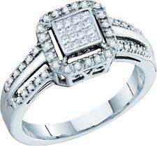 Ladies Designer 10k White Gold 1/4ct Princess Diamond Engagement Wedding Ring