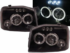 NP300 D22 2001-2004 LED Halo Projector Headlight BLACK EURO for NISSAN LHD
