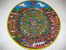 """Plate w/ Village Story & Aztec Calendar XL 16"""" D  Hand Painted Mexican Pottery"""