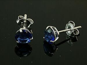 925 Silber Ohrstecker mit 3 Krappen 1 Paar 6  mm  mit synthetischen Saphiren