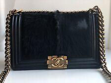 Chanel Auténtica Negra Pelo De Cabra Bolso Mediano