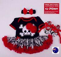 Baby Girl Halloween Skull Skeleton Party Costume Romper Dress Headband Shoes Set