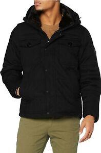NEW Tommy Hilfiger black Men's Removable Fur Hooded Bomber Jacket Large RRP £250
