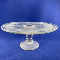 """JEANETTE CAKE PLATE Pedestal Harp & Lyre Glass Depression GLASS 10"""" VINTAGE"""