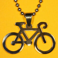 Bicycle Pendant Stainless Steel FREE beaded chain necklace