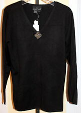 NWT Carole Little V-Neck Black Sweater With Beaded Appliqued Brooch Size Large