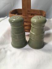 Longaberger Sage Salt & Pepper Shakers with Holding Basket
