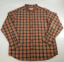 Columbia Men's XL Brown Orange Plaid Button Down Long Sleeve Shirt 100% Cotton