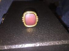 Mens Carnelian 14k Gold Ring Size 9.75