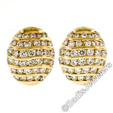14K Yellow Gold 2.88ctw Round Diamond Multi Channel Oval Button Omega Earrings