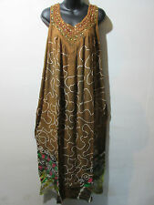 Dress Fits XL 1X 2X Plus Hand Painted Sundress Brown V Neck Sequins NWT G167