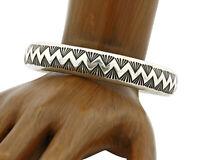 Vtg Navajo Famous Artist Michael TAHE Hand Stamped .925 Bangle Bracelet