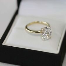 2.50 Ct White Oval Cut Diamond Solitaire Engagement Ring In 14K Yellow Gold Over