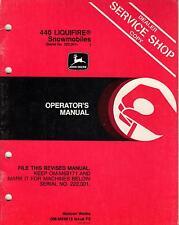 JOHN DEERE LIQUIFIRE 440 SNOWMOBILE OPERATORS MANUAL OM-M69619 ISSUE F2 (384)