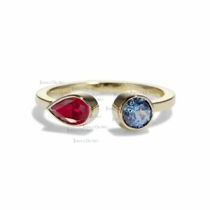 14K Gold Genuine Ruby - Aquamarine Gemstone Open Ring Fine Jewelry Size-3 to 8US