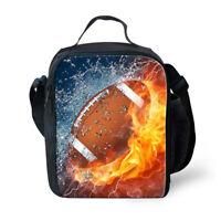 Insulated Cooler Lunch Bag Football Rugby Print Kids Boys Shoulder Bento Box Bag