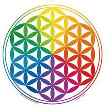 Mandala Kundst Fensteraufkleber: Blume des Lebens Regenbogen mit weißen