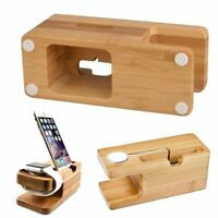 Bamboo Holder For iPhone Desk Stand For Apple Watch Dock Charging Station Cradle