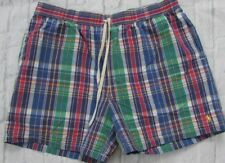 Mens Ralph Lauren Polo Plaid Swim Trunks Purple Blue Yellow 2XB