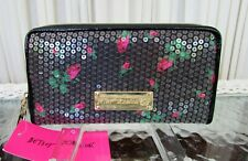Betsey Johnson Wallet Rose Buds Zip Around Sequins Pink Mini Roses 58