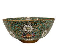 """Japanese Porcelain Footed Bowl Hand Painted Floral Design Vintage 6 1/4"""""""
