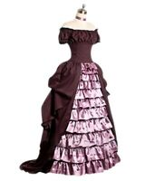 Vintage Victorian Ruffled Slim Waist Off Shoulder Dress Ball Gown Prom Dress