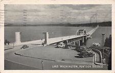 SEATTLE WASHINGTON LAKE WASHINGTON PONTOON BRIDGE GRAYCRAFT POSTCARD c1946