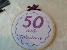 Embroidered Hoop Art, Wall Hanging 50th Birthday wall plaque Hand stitched