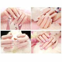 24pcs 3d bride wedding false artificial fake nails tips beautiful french nail HU